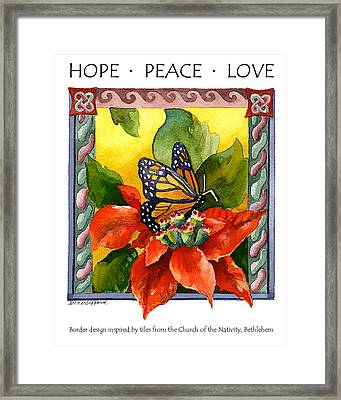 Hope Peace Love Framed Print by Anne Gifford