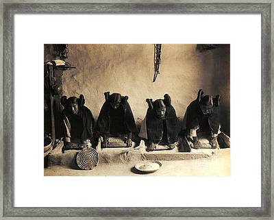 Hopi Girls Grinding Corn Framed Print