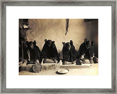 Hopi Girls Grinding Corn Framed Print by Pg Reproductions