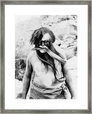 Hopi Indian With Painted Face And Body Framed Print