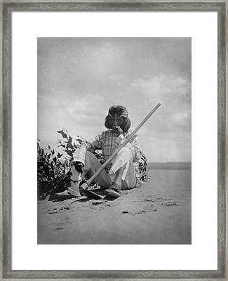 Hopi Man Sitting On Ground Smoking Framed Print