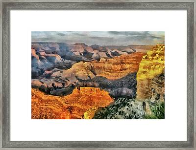 Hopi Point - Grand Canyon Sunset Framed Print by Mary Warner