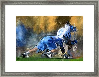 College Lacrosse Faceoff 3 Framed Print by Scott Melby