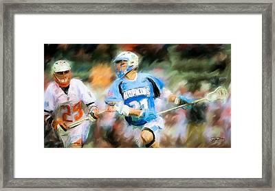College Lacrosse Midfielder Framed Print by Scott Melby