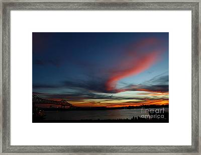 Horace Winkinson Bridge At Sundown Framed Print by Linda Alexander