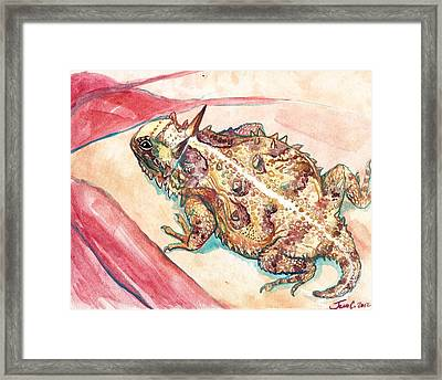 Framed Print featuring the painting Horny Toad by Jenn Cunningham