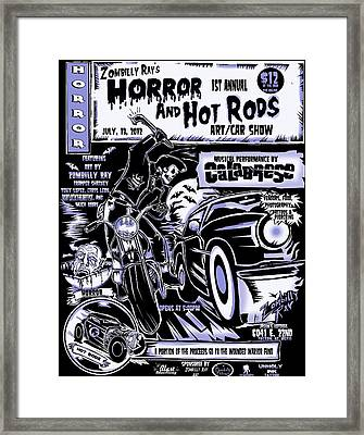 Horror And Hot Rods Framed Print by Zombilly Ray