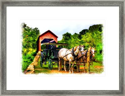 Horse And Buggy In Front Of Covered Bridge Framed Print by Dan Friend
