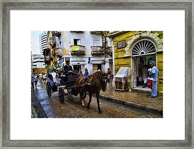 Horse And Buggy In Old Cartagena Colombia Framed Print