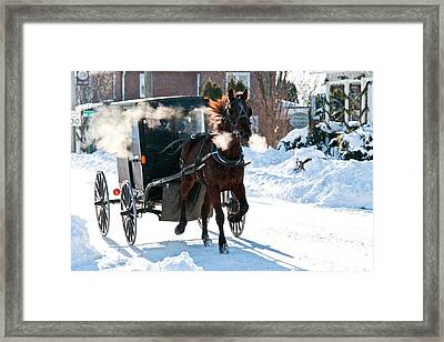 Horse And Buggy In The Snow Framed Print