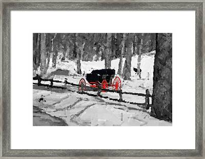 Horse And Buggy - No Work Today - Abstract Framed Print by Janice Adomeit