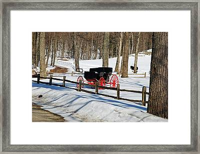 Horse And Buggy - No Work Today Framed Print by Janice Adomeit