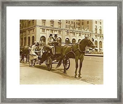 Horse And Buggy Ride On Leave Framed Print