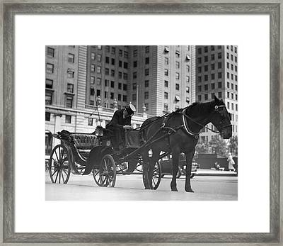 Horse Drawn Carriage, Nyc Framed Print by George Marks