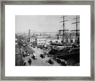 Horse-drawn Express Wagons Moored Ships Framed Print