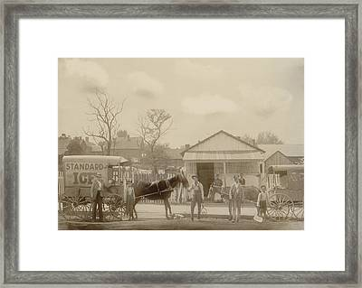 Horse-drawn Ice Wagon And Workers Framed Print by Everett