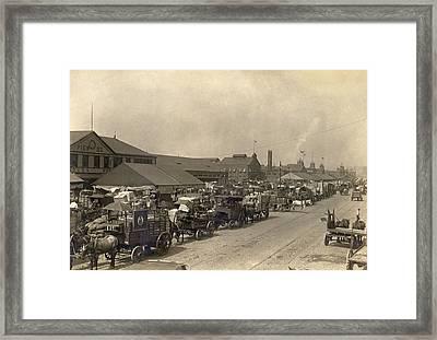 Horse Drawn Wagons Crowd New York Piers Framed Print by Everett