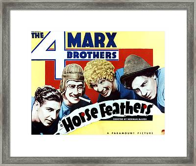 Horse Feathers, From Left Zeppo Marx Framed Print by Everett