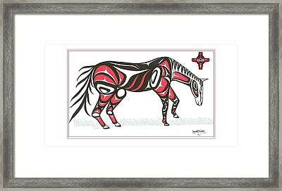 Horse Grass Sun Red Framed Print by Speakthunder Berry