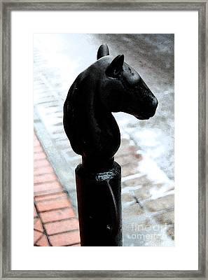 Horse Head Pole Hitching Post French Quarter New Orleans Fresco Digital Art Framed Print