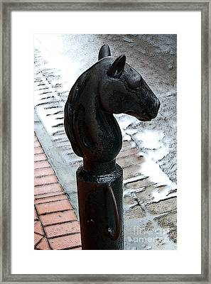 Horse Head Pole Hitching Post French Quarter New Orleans Poster Edges Digital Art Framed Print