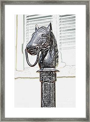 Horse Head Pole Hitching Post Macro French Quarter New Orleans Colored Pencil Digital Art Framed Print