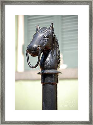 Horse Head Pole Hitching Post Macro French Quarter New Orleans Framed Print