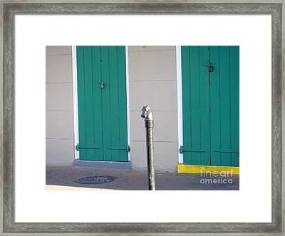 Framed Print featuring the photograph Horse Head Post With Green Doors by Alys Caviness-Gober