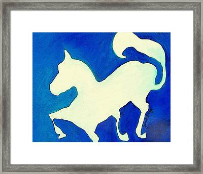 Horse In Blue And White Framed Print by Janel Bragg
