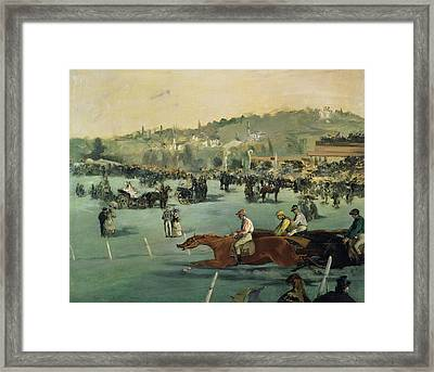 Horse Racing Framed Print by Edouard Manet
