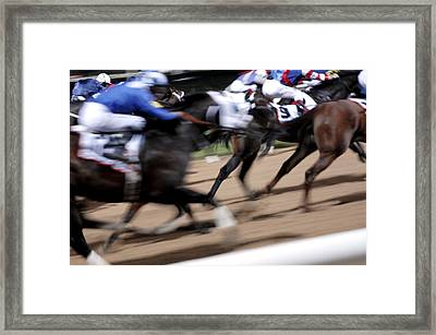Horse Racing Framed Print by Johnny Greig