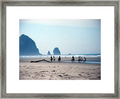Horse Riders On Canon Beach Oregon Framed Print