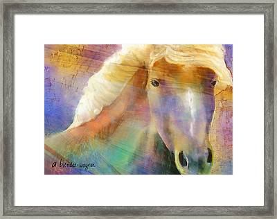 Horse With The Golden Mane Framed Print by Arline Wagner