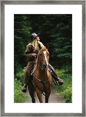 Horseback Riding In Yoho National Park Framed Print by Michael Melford