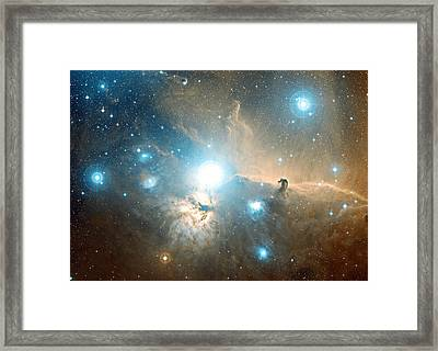 Horsehead And Flame Nebulae Framed Print by Davide De Martin
