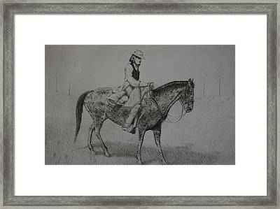 Framed Print featuring the drawing Horseman by Stacy C Bottoms