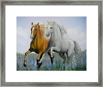 Horses And Bluebonnets Framed Print by Kay Mashburn