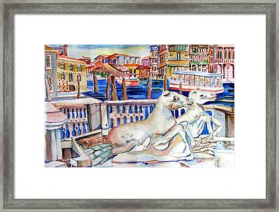 Horses On The Grand Canal Of Venice Framed Print by Mindy Newman