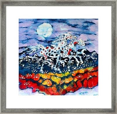 Horses Prance On Flower Field In Summer Moon Framed Print by Carol Law Conklin