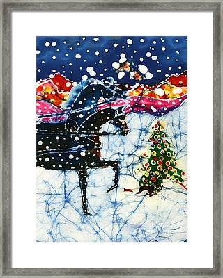 Horses Trot To The Christmas Tree Framed Print by Carol Law Conklin