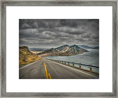 Horsetooth Reservoir Stormy Skies Hdr Framed Print by Aaron Burrows