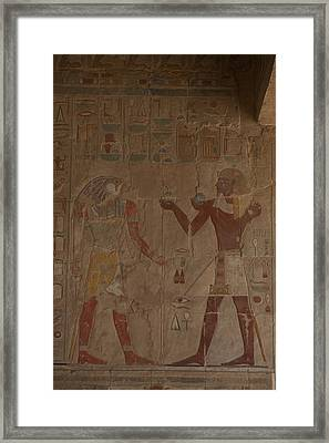 Horus Is Shown Receiving Gifts Framed Print by Taylor S. Kennedy