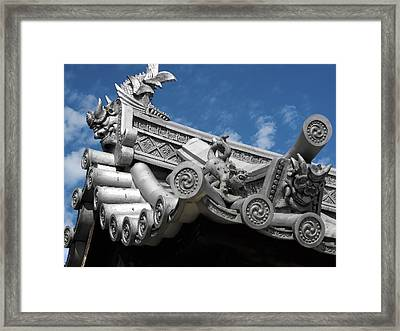 Horyu-ji Temple Roof Gargoyles - Nara Japan Framed Print by Daniel Hagerman