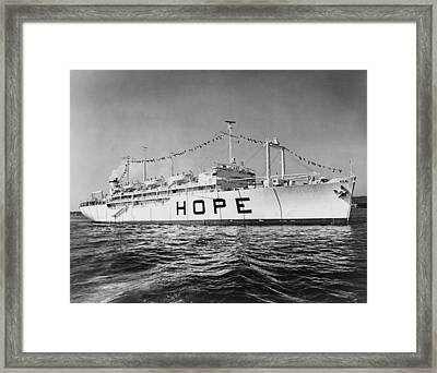 Hospital Ship, S.s. Hope , 15,000-ton Framed Print by Everett