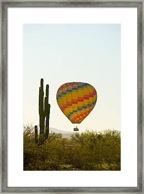 Hot Air Balloon In The Arizona Desert With Giant Saguaro Cactus Framed Print