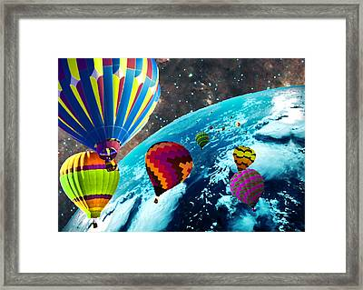 Hot Air Balloon Space Race Framed Print by Michael Ambrose