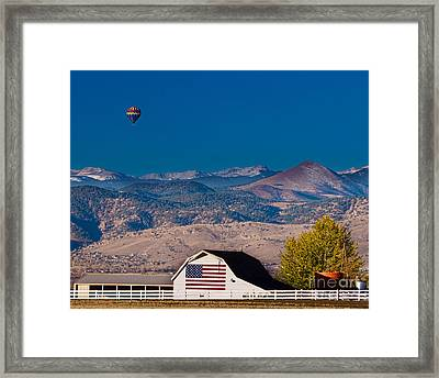 Hot Air Balloon With Usa Flag Barn God Bless The Usa Framed Print by James BO  Insogna