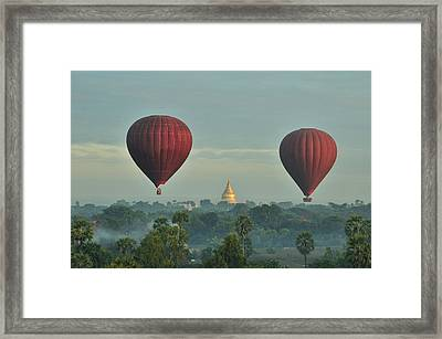 Hot Air Balloons Over Bagan In Myanmar Framed Print by Huang Xin