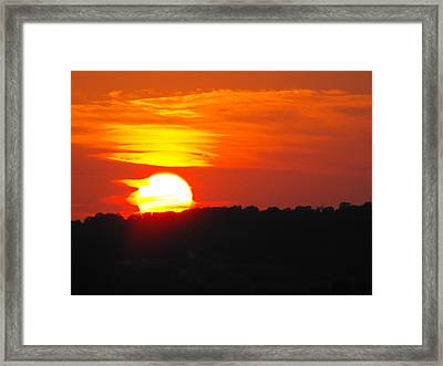 Hot August Sunset In Texas Framed Print by Rebecca Cearley