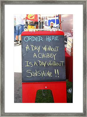 Framed Print featuring the photograph Hot Dog Stand Humor by Kay Novy